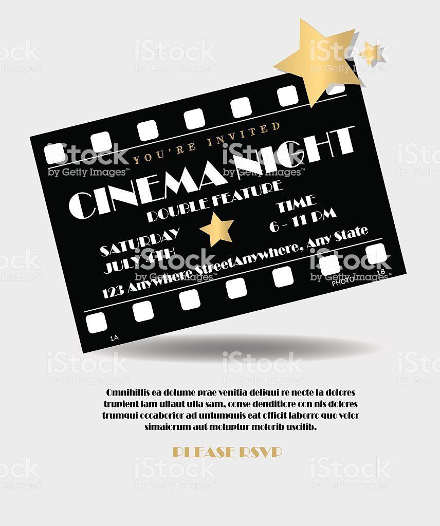 Vintage Style Black And Gold Cinema Movie Film Night Event Ticket Identity Design Logo Invitation Design Template Book And Magazine Design