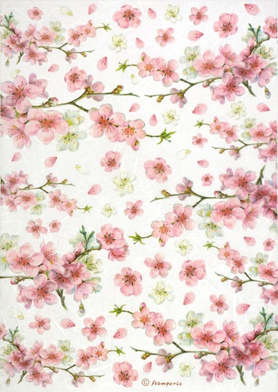 Rice Paper Decoupage Scrapbook Craft Sheet Flowers Twig with Flowers 437
