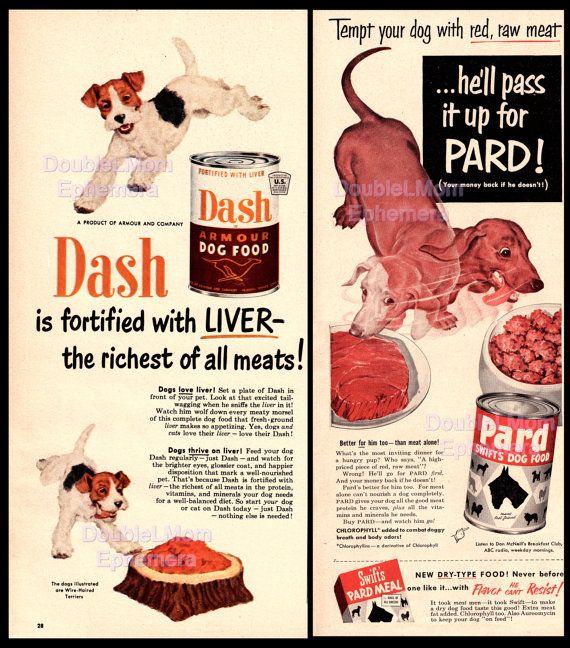 1950s Set Of 2 Dog Food Ads 1950 Dash Dog Food Print Ad 1953