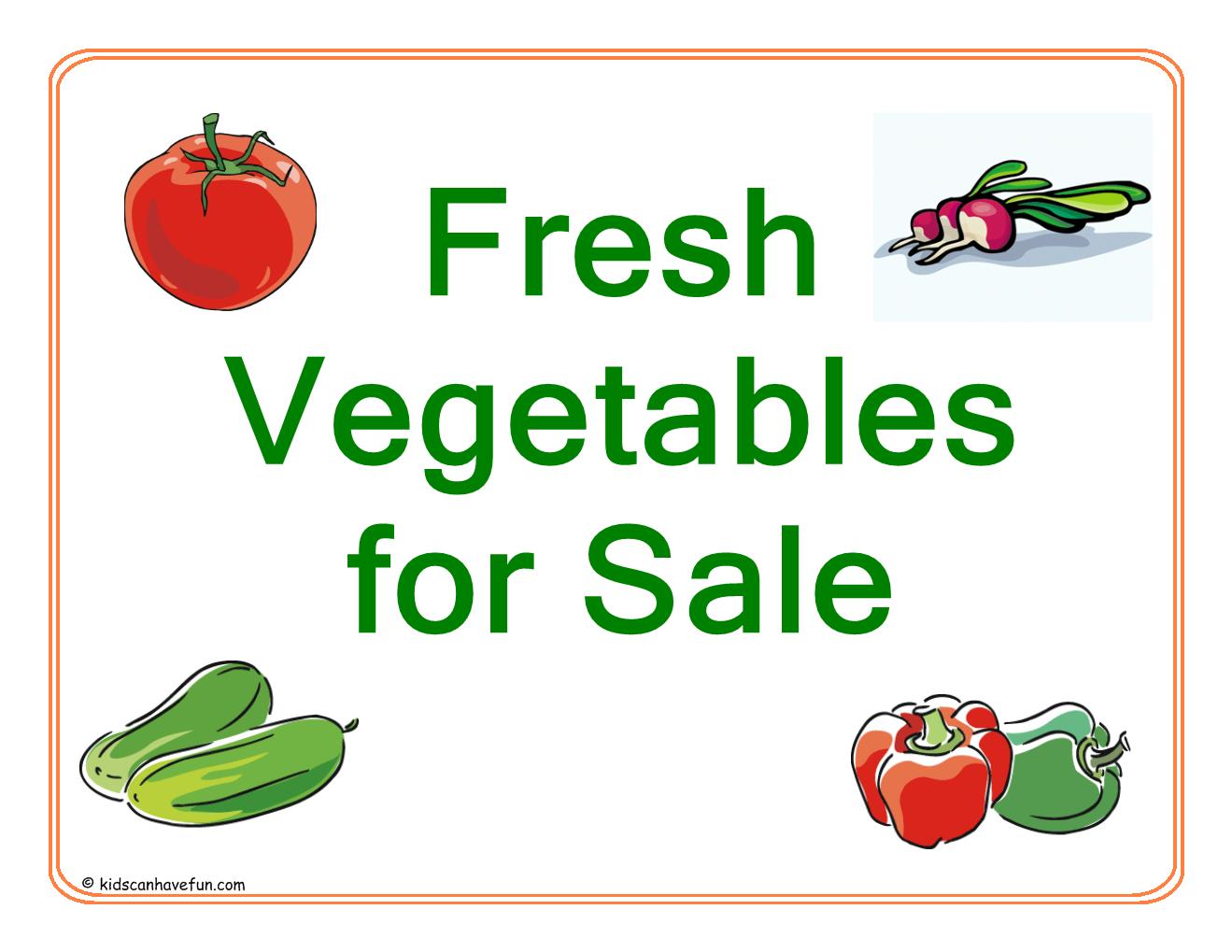 Vegetables For Sale Sign
