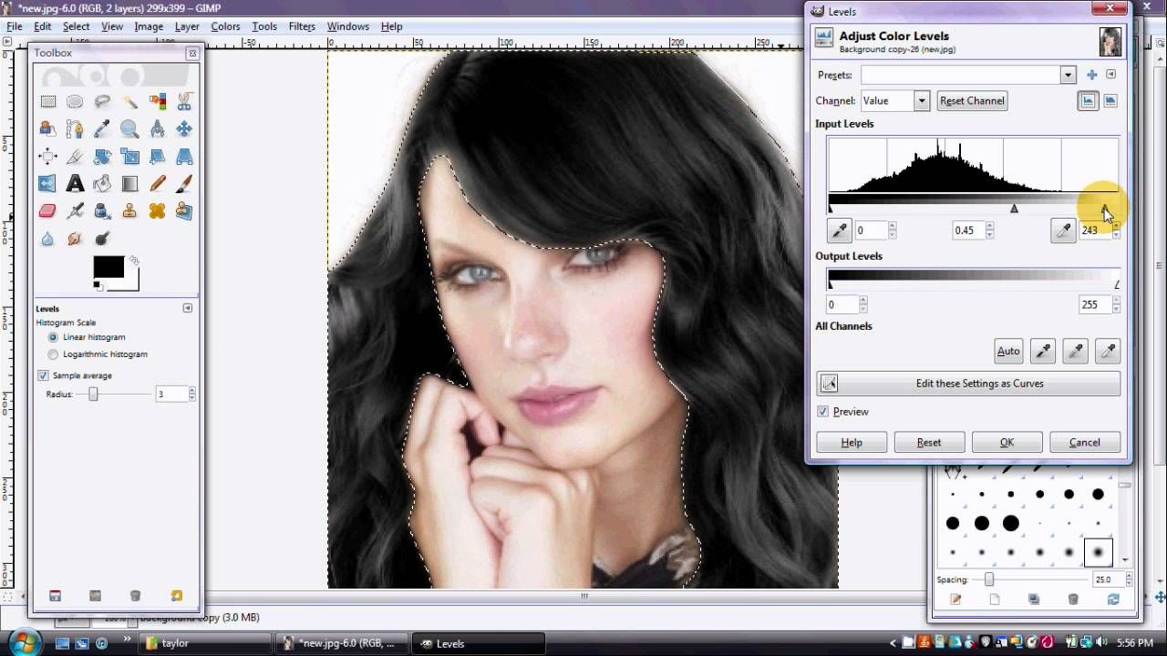 Changing Hair Colour Blonde To Black Gimp Tutorial Gimp Tutorial Gimp Hair Color