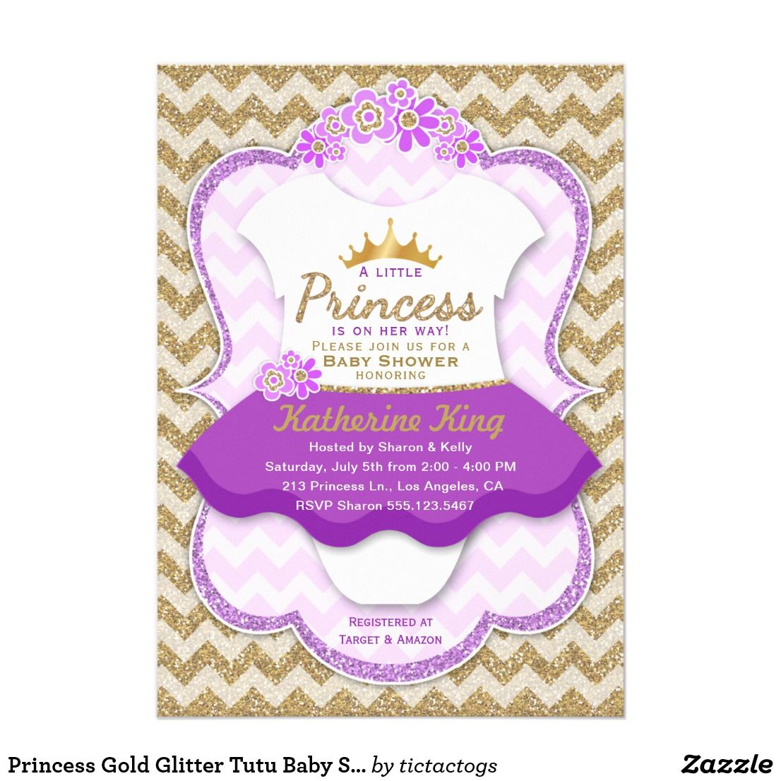 Princess Gold Glitter Tutu Baby Shower Invitation Baby Shower