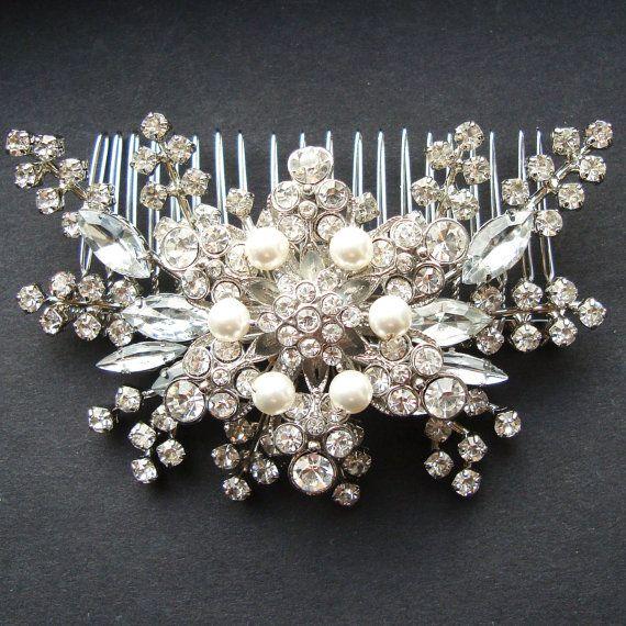 Victorian Style Wedding Hair: Pearl & Rhinestone Bridal Hair Accessories, Vintage Style