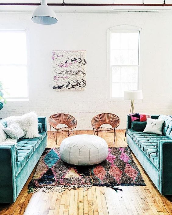 colorful living room with mix of styles
