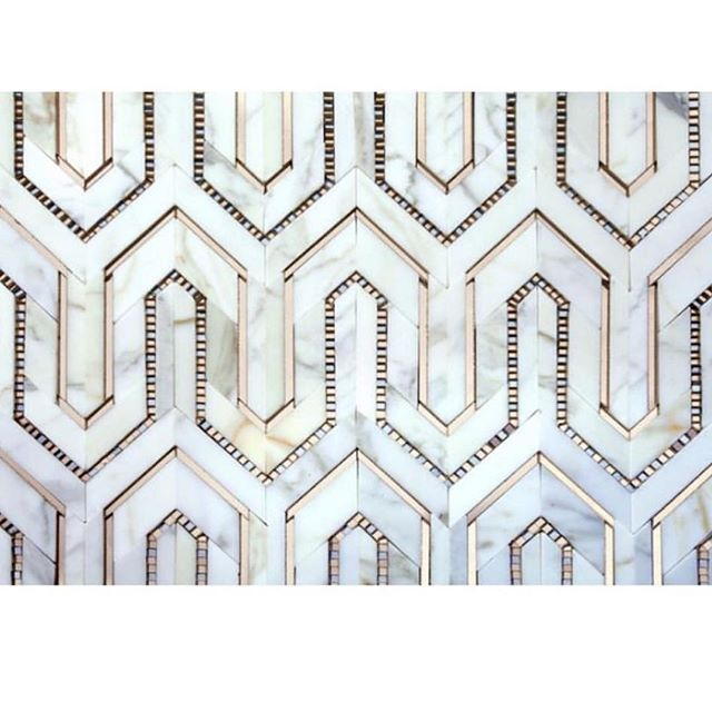 Carrera Marble Gold Geometric Tile Tiles Stone Mosaic Mosaic