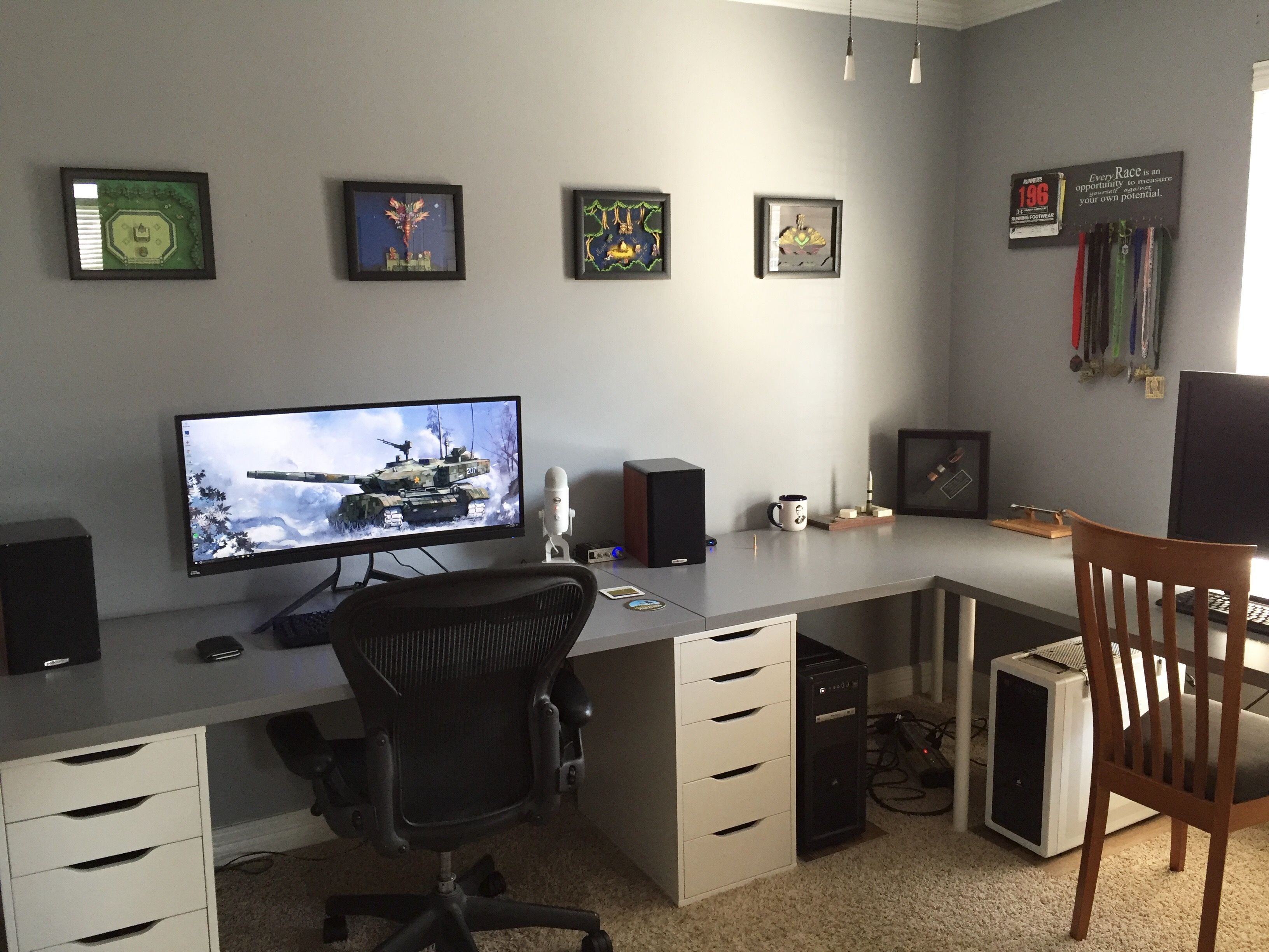 New Office Setup Just Need To Address Cables Office Furniture Layout Home Office Setup Home Office Layouts