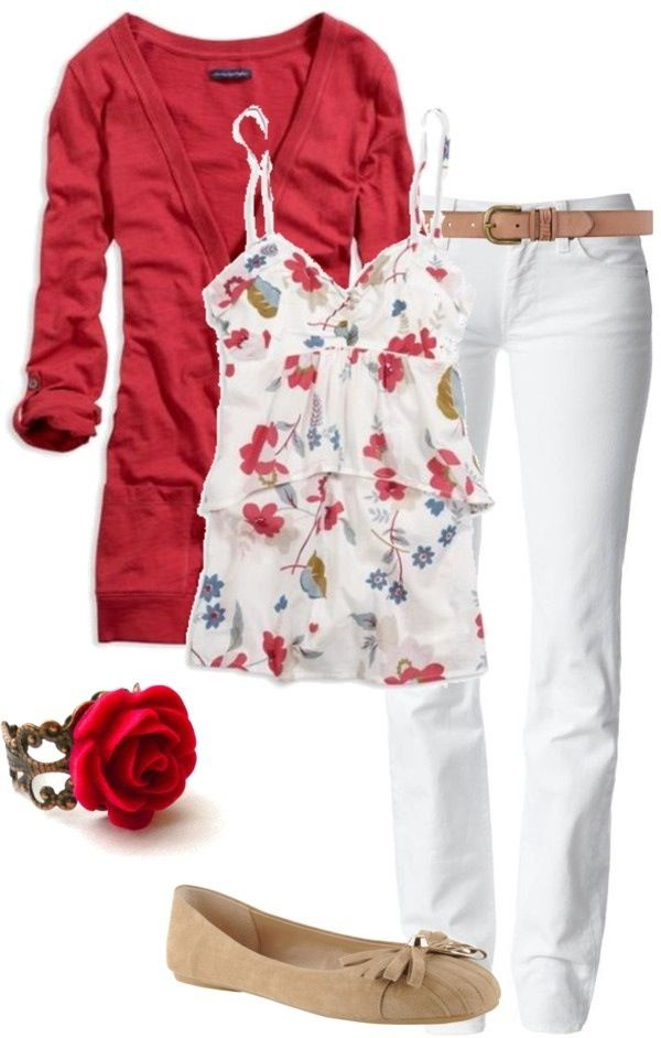 This gives me an idea....floral camis or even frilly ones with a red long cardi...with a statement necklace