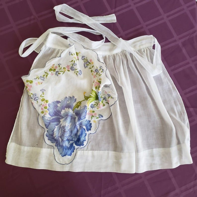 Vintage White With Blue Flowers Apron