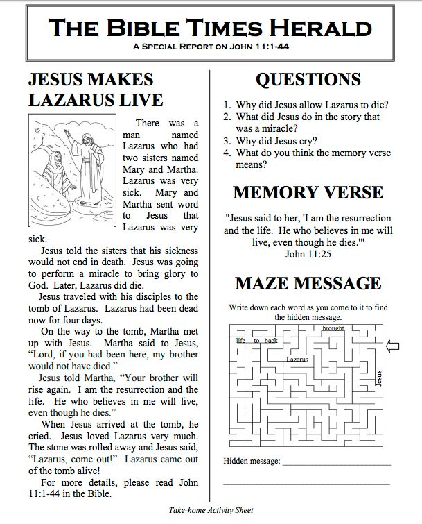 News article about Lazarus | Children's Ministry | Kids