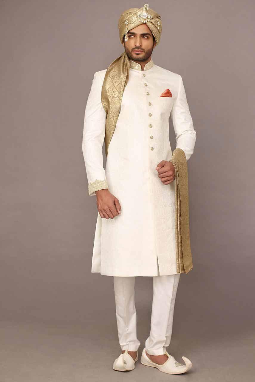 Image result for Gold and white sherwani wedding dress:
