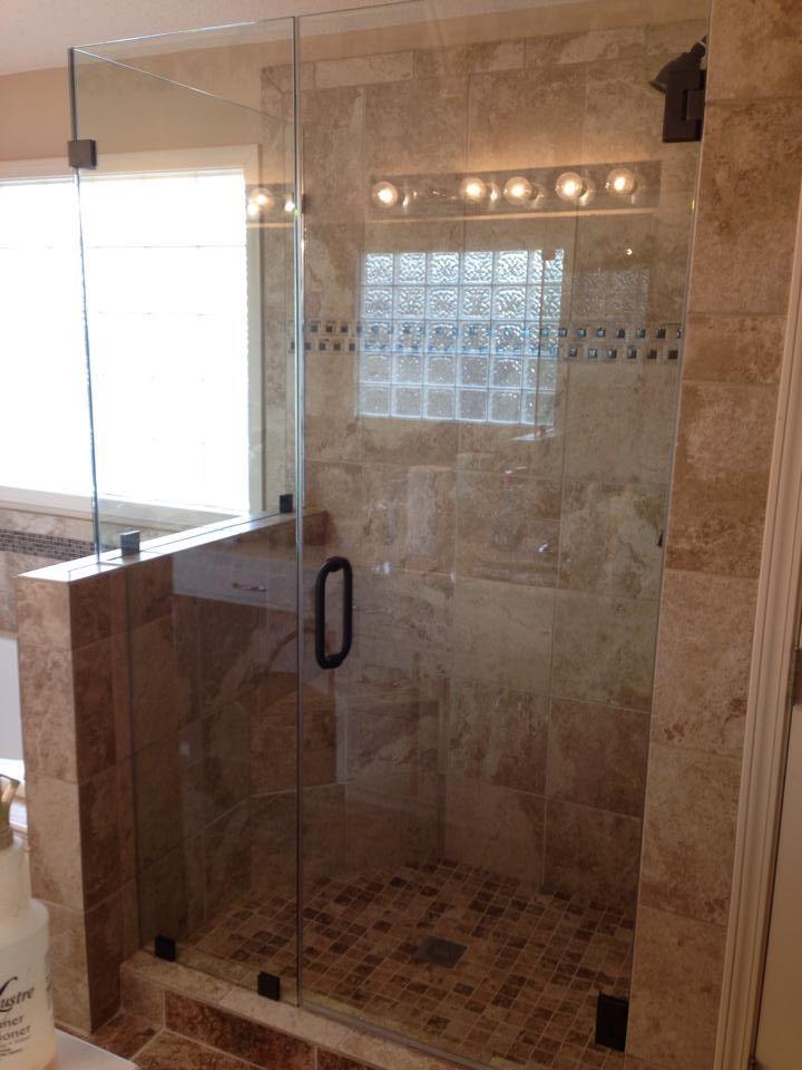 half wall half glass shower google search bathroom ideas pinterest half walls glass. Black Bedroom Furniture Sets. Home Design Ideas