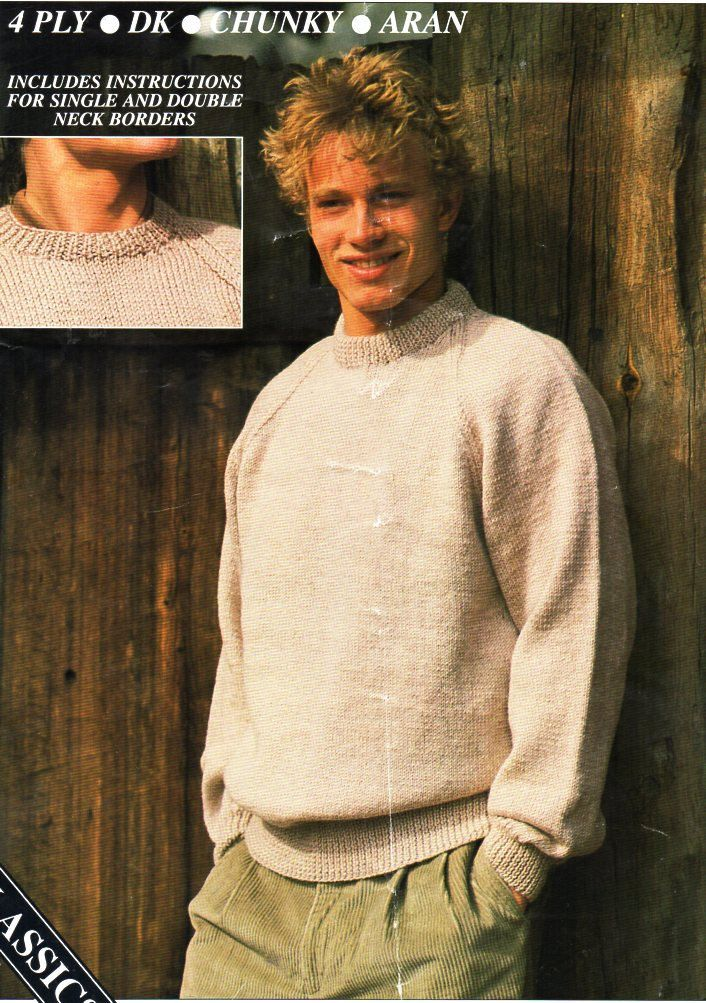 cf4c0628ecfd mens classic round neck sweater knitting pattern pdf 4ply DK aran or ...