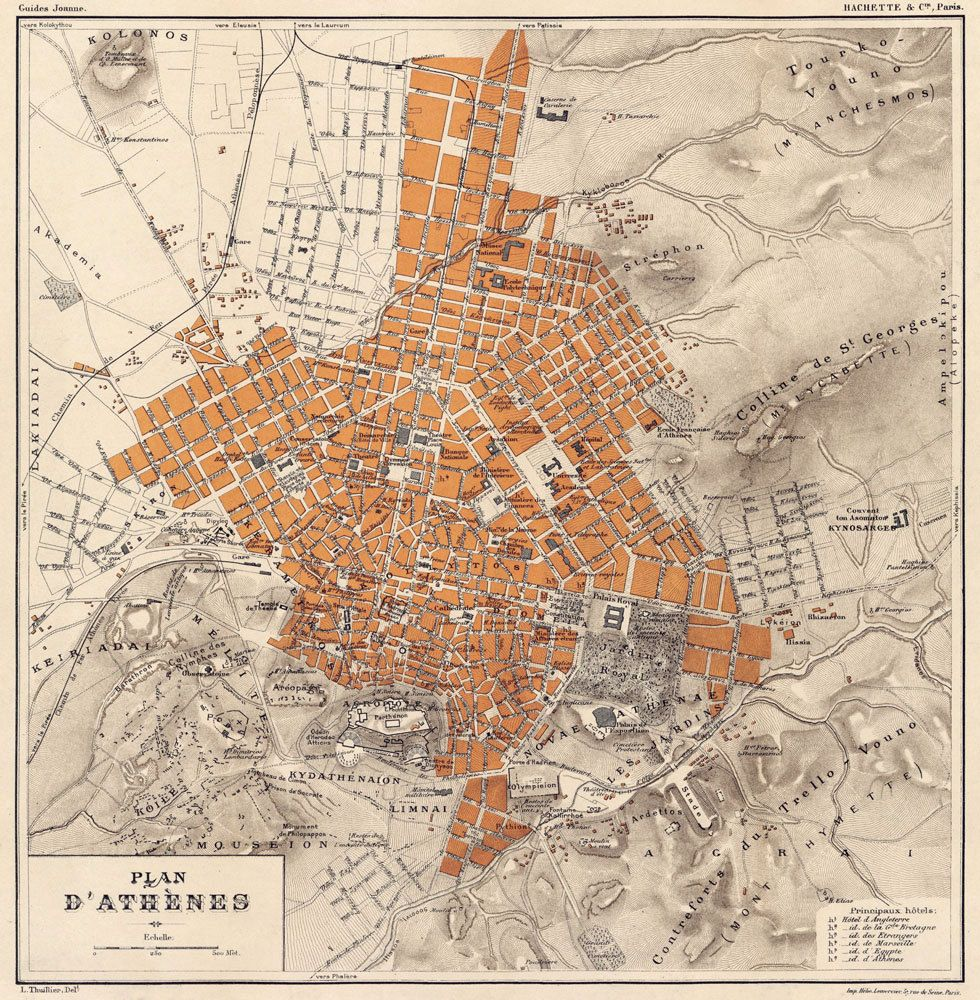 Athens Map Old Map Of Athens Fine Archival Print Plan D