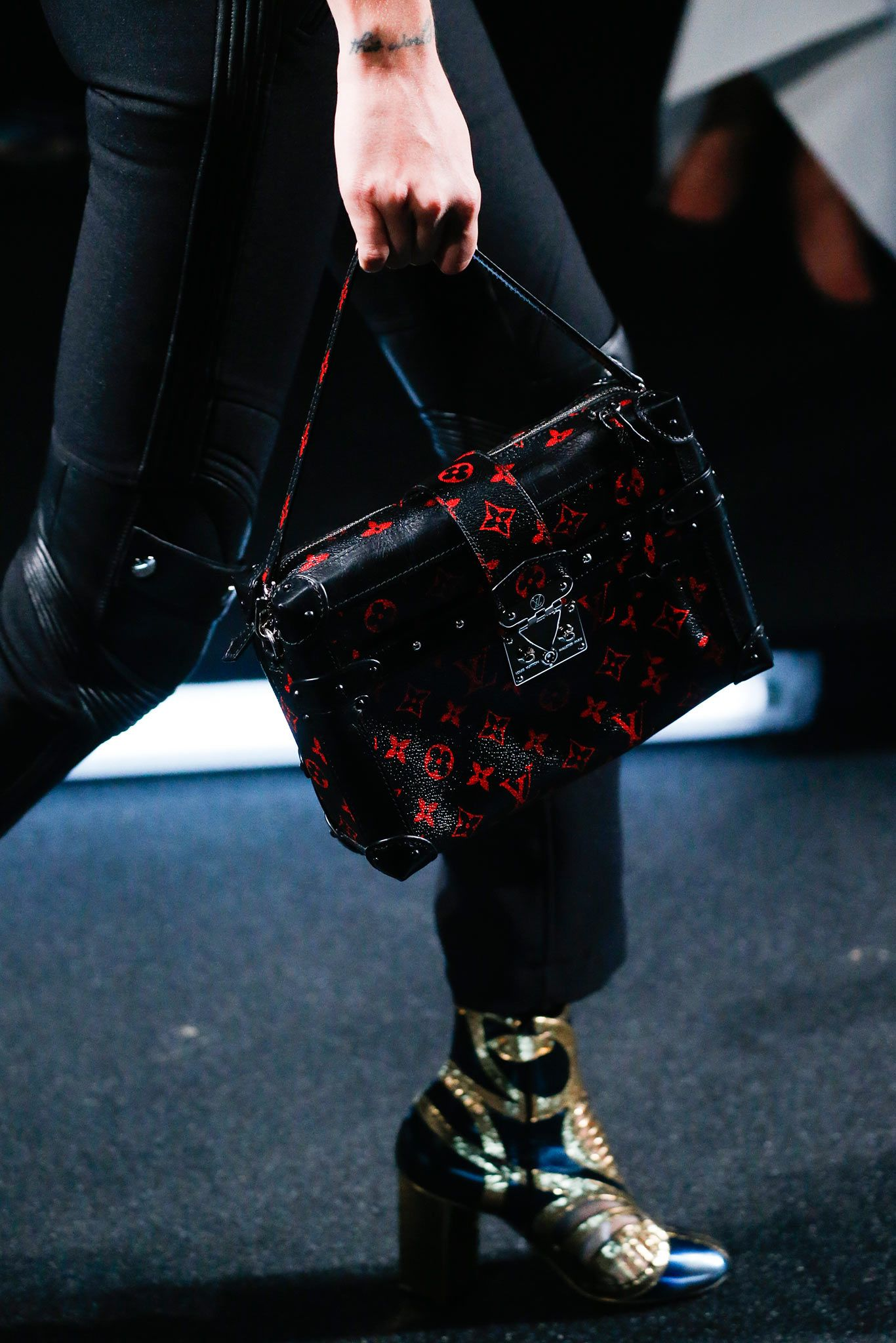 449aafb499bd Louis Vuitton Black Red Monogram Canvas Petite Malle Bag - Spring 2015