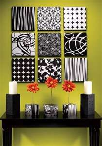 Different colors...Fabric squares, add ribbon, clip pictures on squares - easy to change out the pictures.