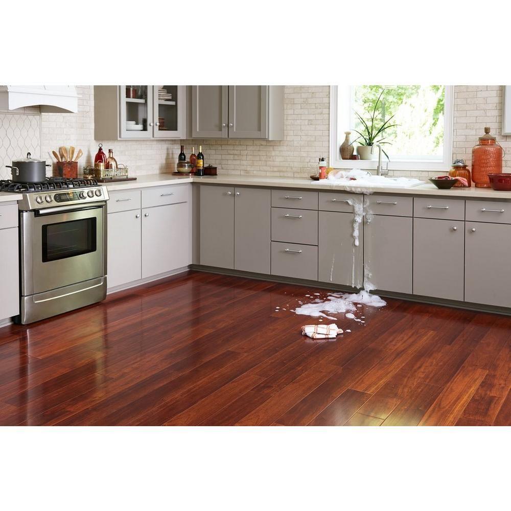 Cherry High Gloss Water Resistant Laminate Wood Floor Kitchen Mahogany Kitchen Cherry Hardwood Flooring