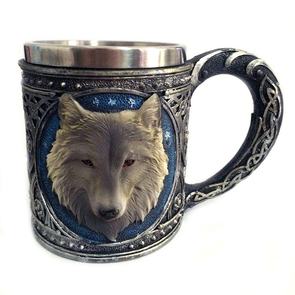 3D Wolf Mug Mugs, Stainless steel cups, Beer mugs