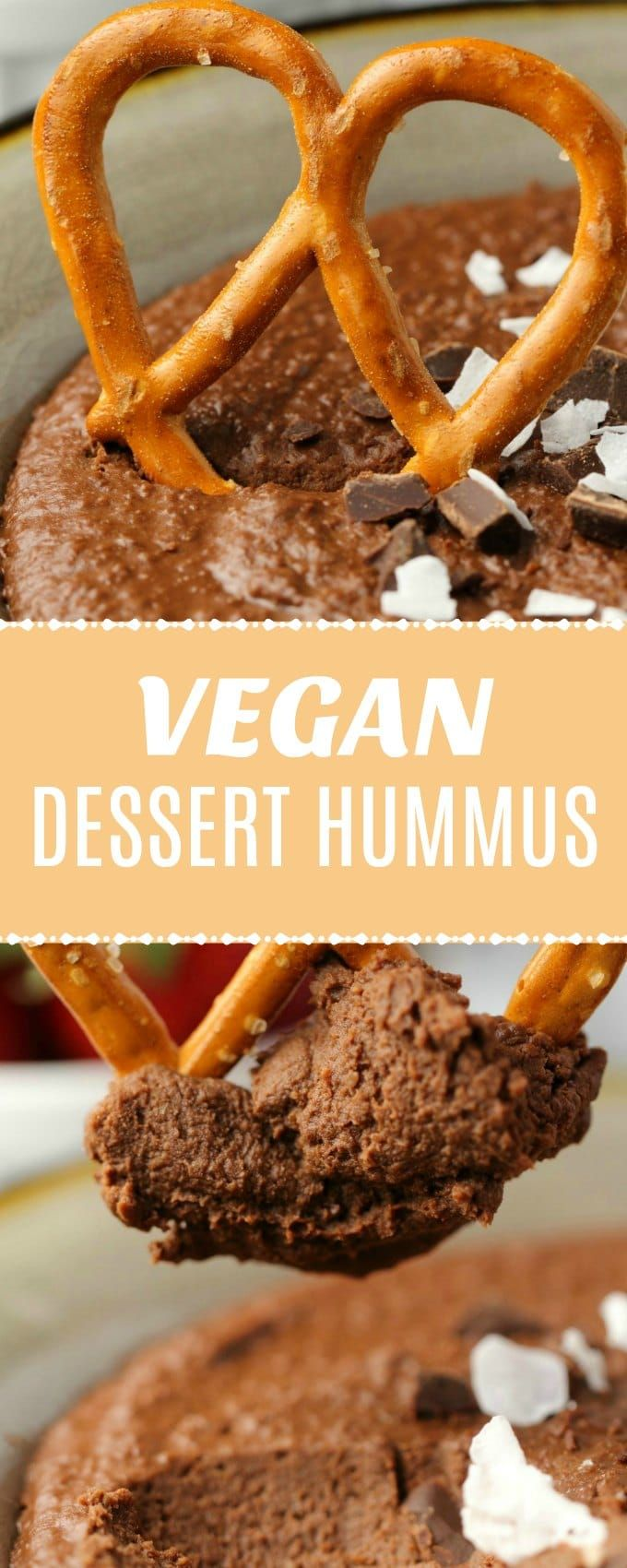 Delicious chocolate dessert hummus! Amazing as a dip for fresh fruit or pretzels, or just to eat with a spoon! High in protein and fiber, vegan and gluten-free! | lovingitvegan.com #fiberfruits
