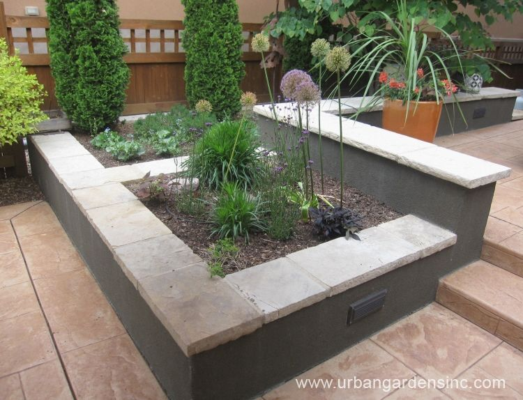 Build concrete block stucco garden wall google search for Concrete block landscaping ideas