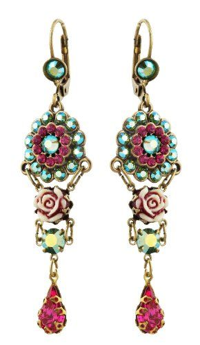 Amazon.com: Michal Negrin Gorgeous Earrings with Vintage Roses, Flowers, Green and Fucshia Swarovski Crystals - Victorian Style, Hypoallergenic: Michal Negrin: Jewelry