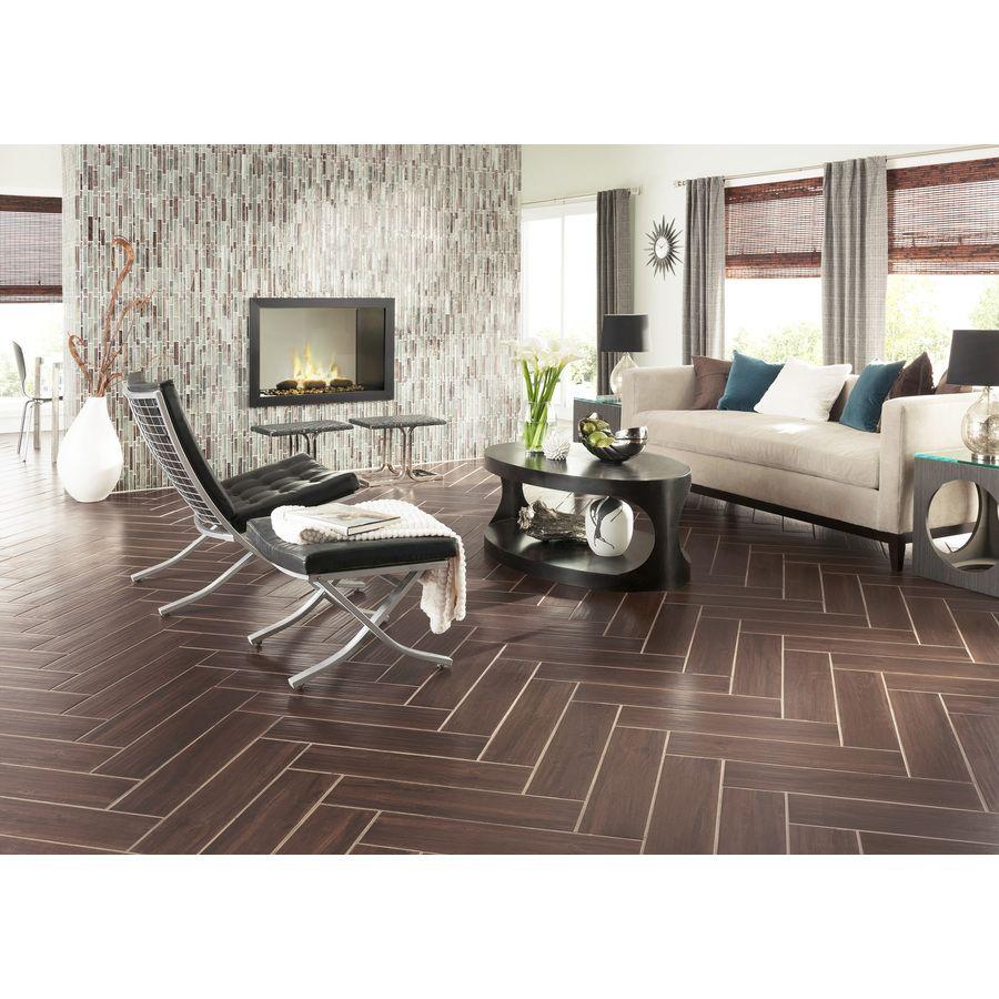 Shop Style Selections Serso Black Walnut Glazed Porcelain Floor ...