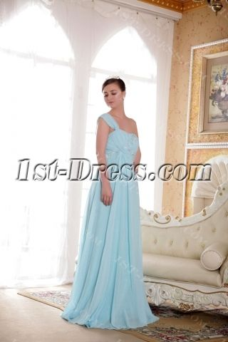 Blue Maternity Prom Dress for Plus Size with One Shoulder