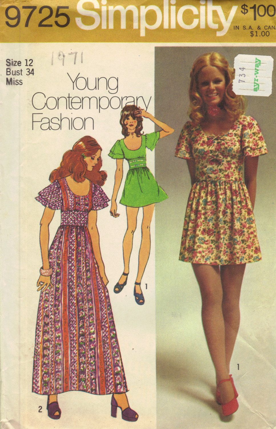 Simplicity Retro 70s Sewing Pattern Hippie Style Dress Maxi Midi ...