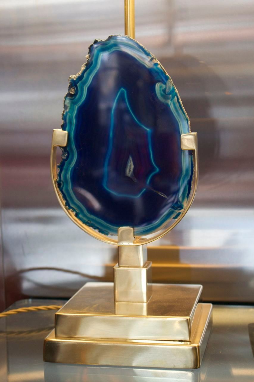 Pair of Blue Agates Table Lamps Attributed to Willy Daro | From a unique collection of antique and modern wall lights and sconces at https://www.1stdibs.com/furniture/lighting/sconces-wall-lights/