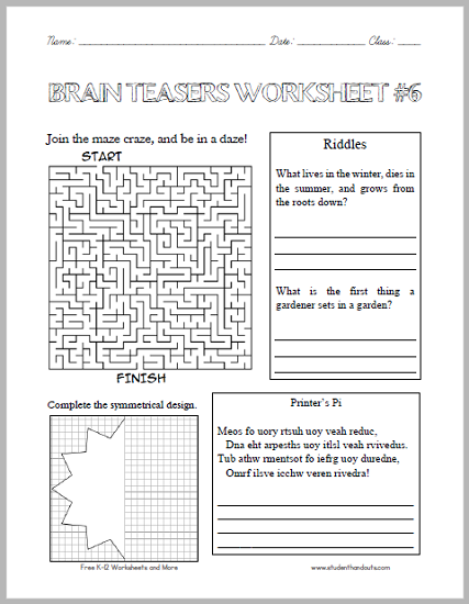 Brain Teasers Worksheet 6 Here Is A Fun Handout Full Of Head