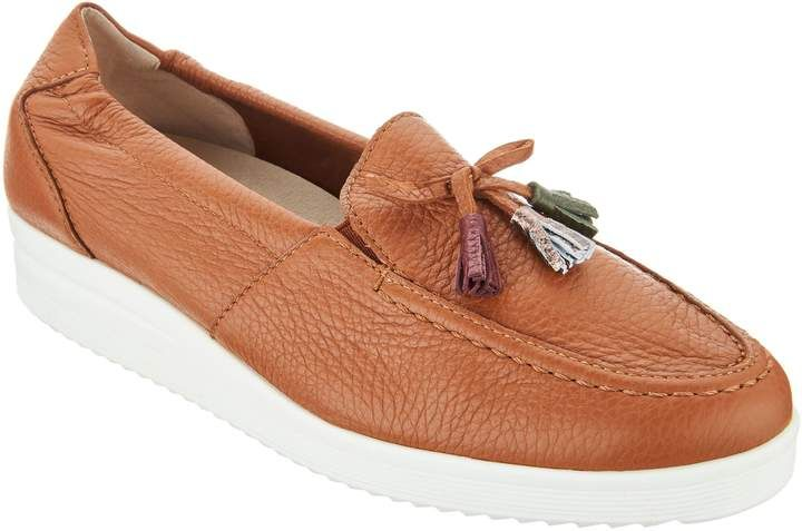 Vitaform Leather Low Wedge Loafers With Tassel Wedge Loafers Womens Shoes Wedges Loafers