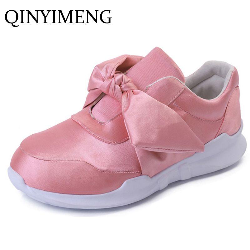 Shoe For Women Shoes Spring Casual Platform Autumn Womens Footwear Female Bowtie  Shoes Ladies Satin Canvas Shoe Women's Loafer