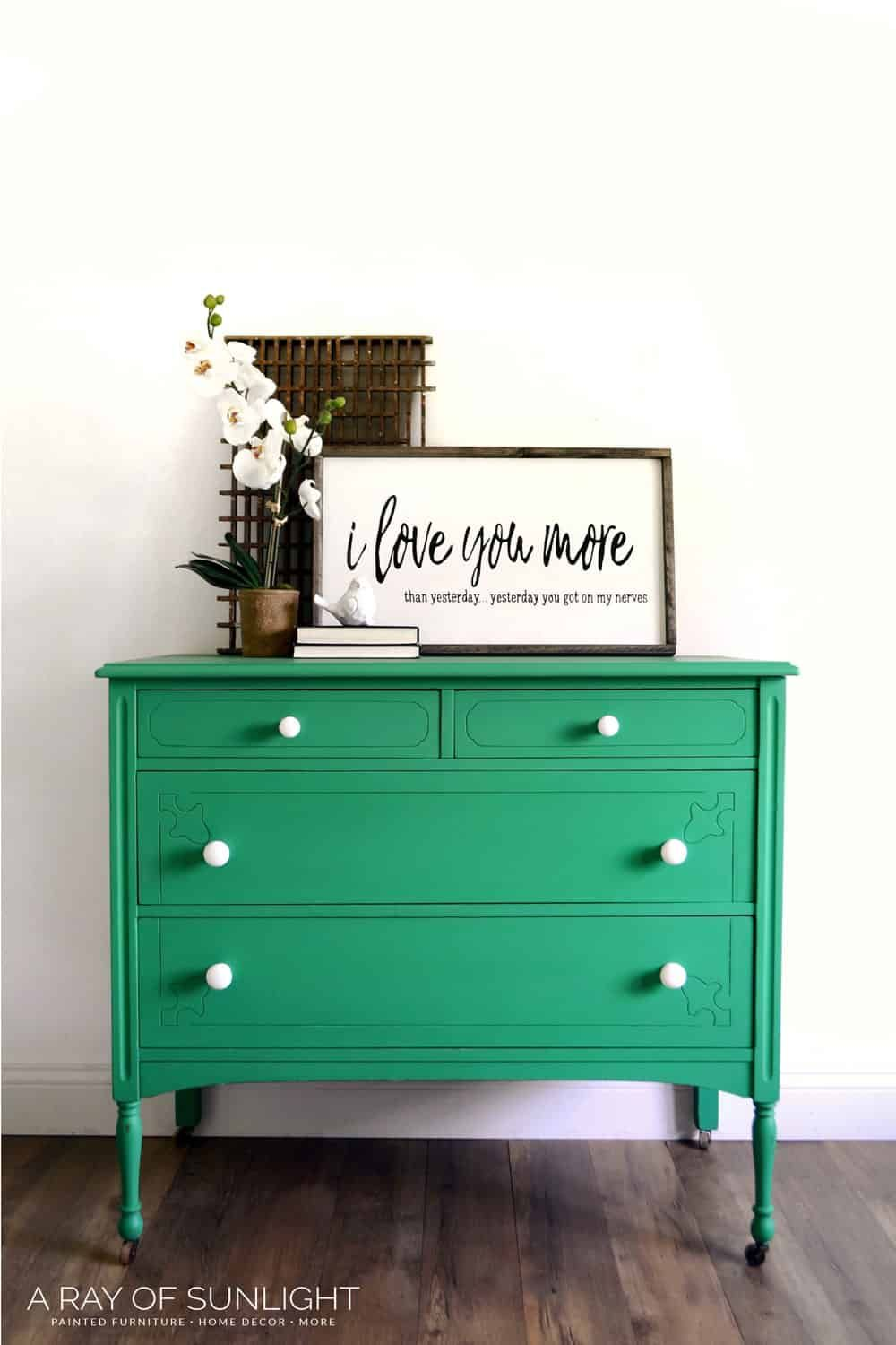 How To Paint A Stained Dresser Green Dresser Stained Dresser