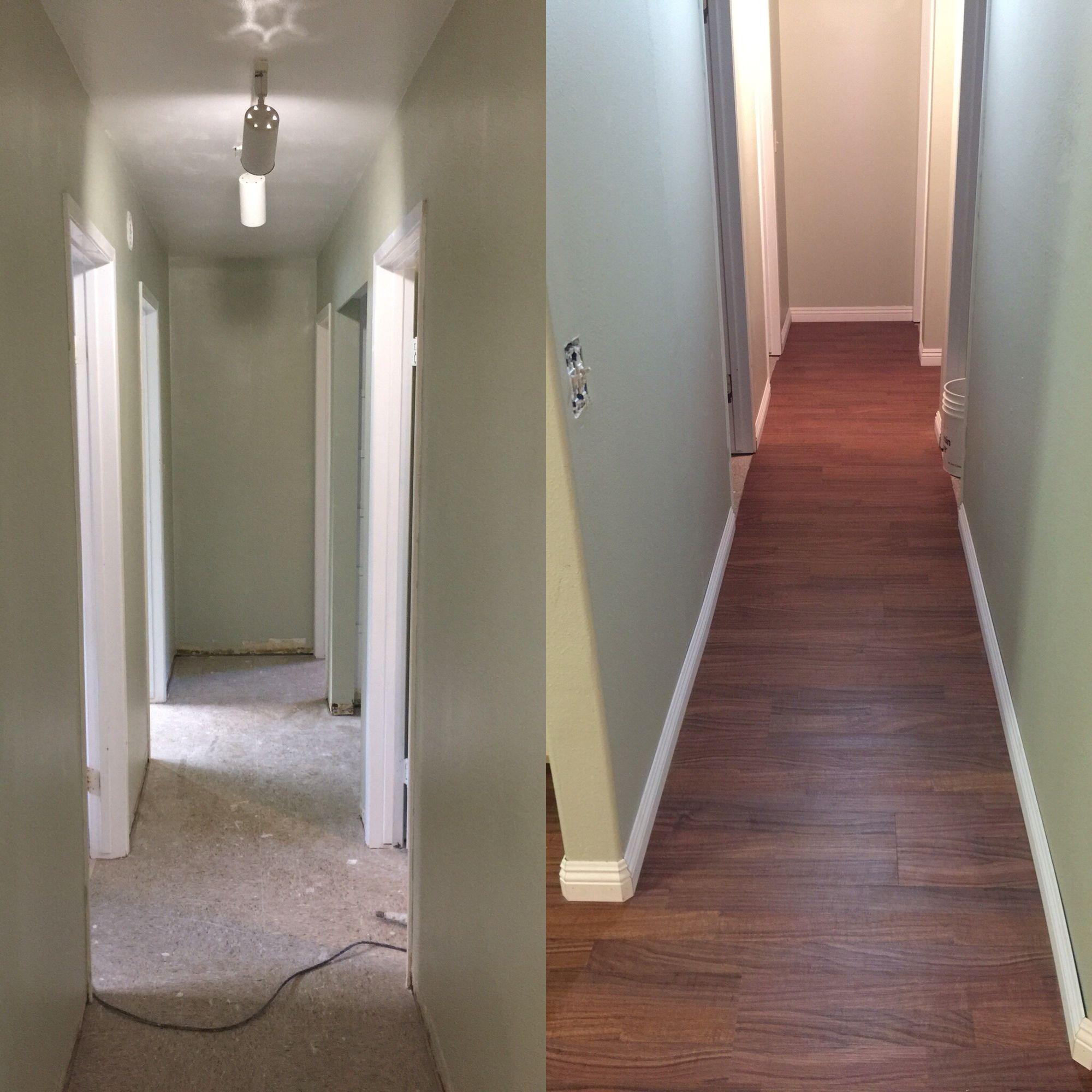 Hallway Color wind chime paint color, koa vinyl flooring, victorian baseboards