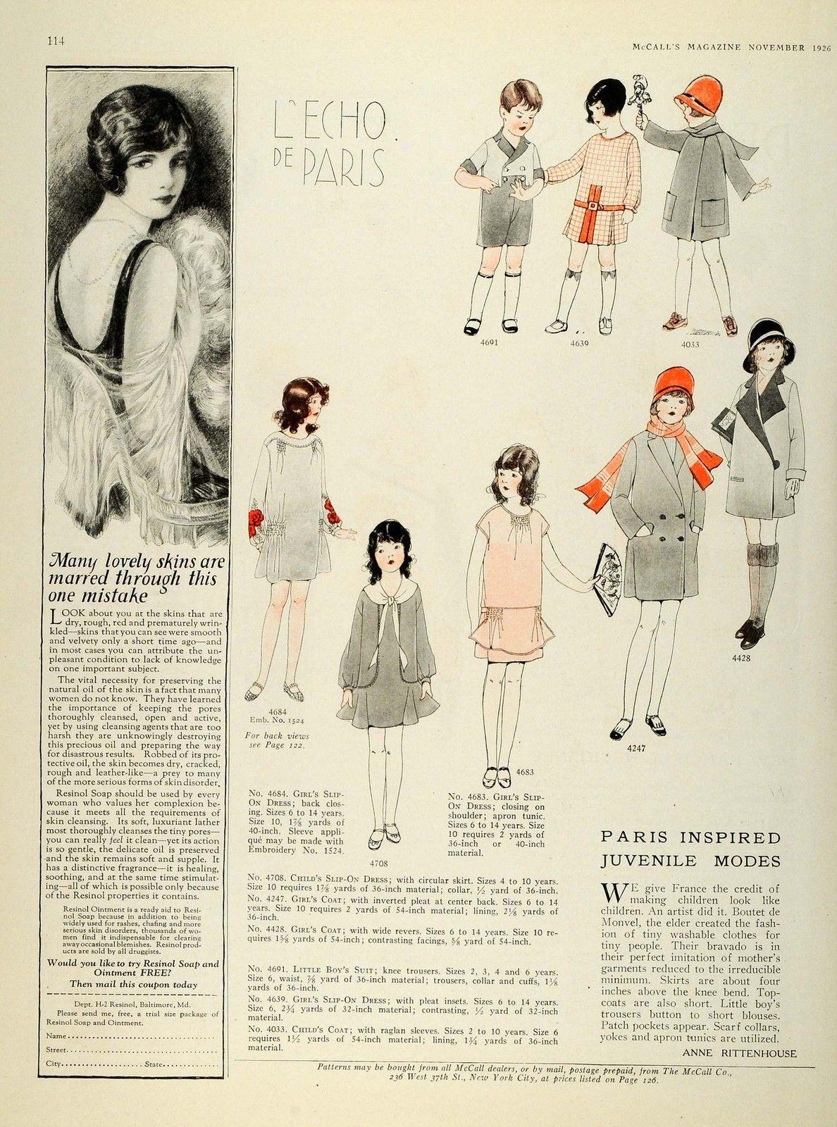 1926 Print Women Children Clothing Flapper Fashion McCalls ...