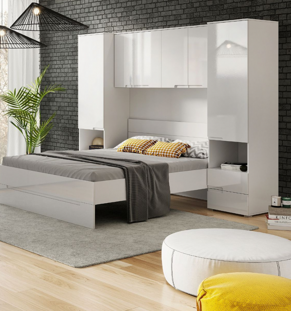 Cellini White Gloss Over Bed Storage Unit Wardrobes 2899