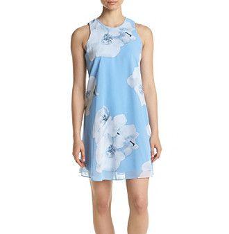 Calvin Klein Floral Printed Chiffon Shift Dress
