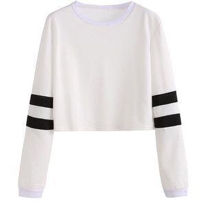White Varsity Striped Sleeve Crop T-shirt