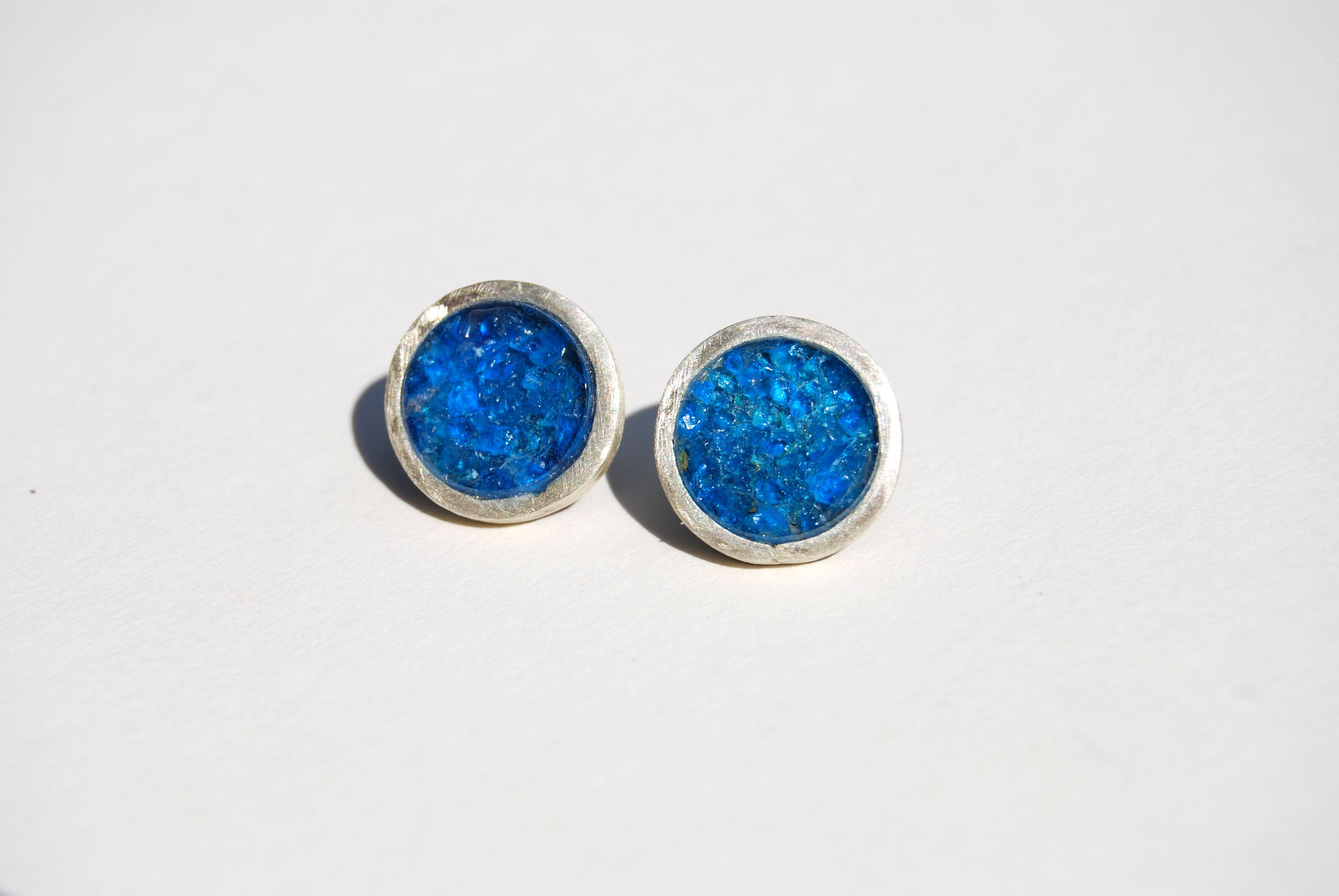 Steven Bradley: Copper Sulphate Stud earrings - silver
