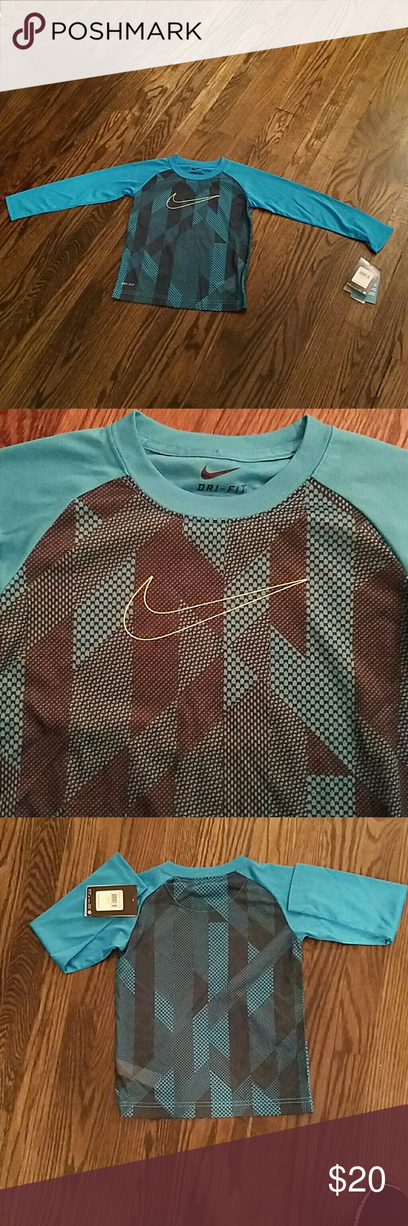 NIKE DRI-FIT Long sleeve Dri-Fit shirt pulls away sweat to help keep you dry and comfortable. Stay cool. Turquoise and black. Nike Shirts & Tops Tees - Long Sleeve