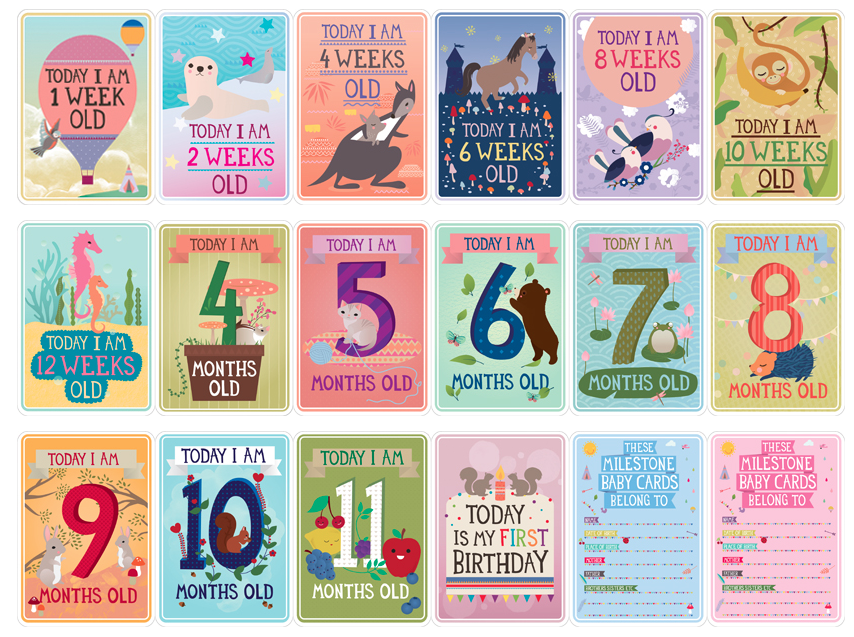 30 Pack Milestone-Pregnancy and Newborn Cards One Size