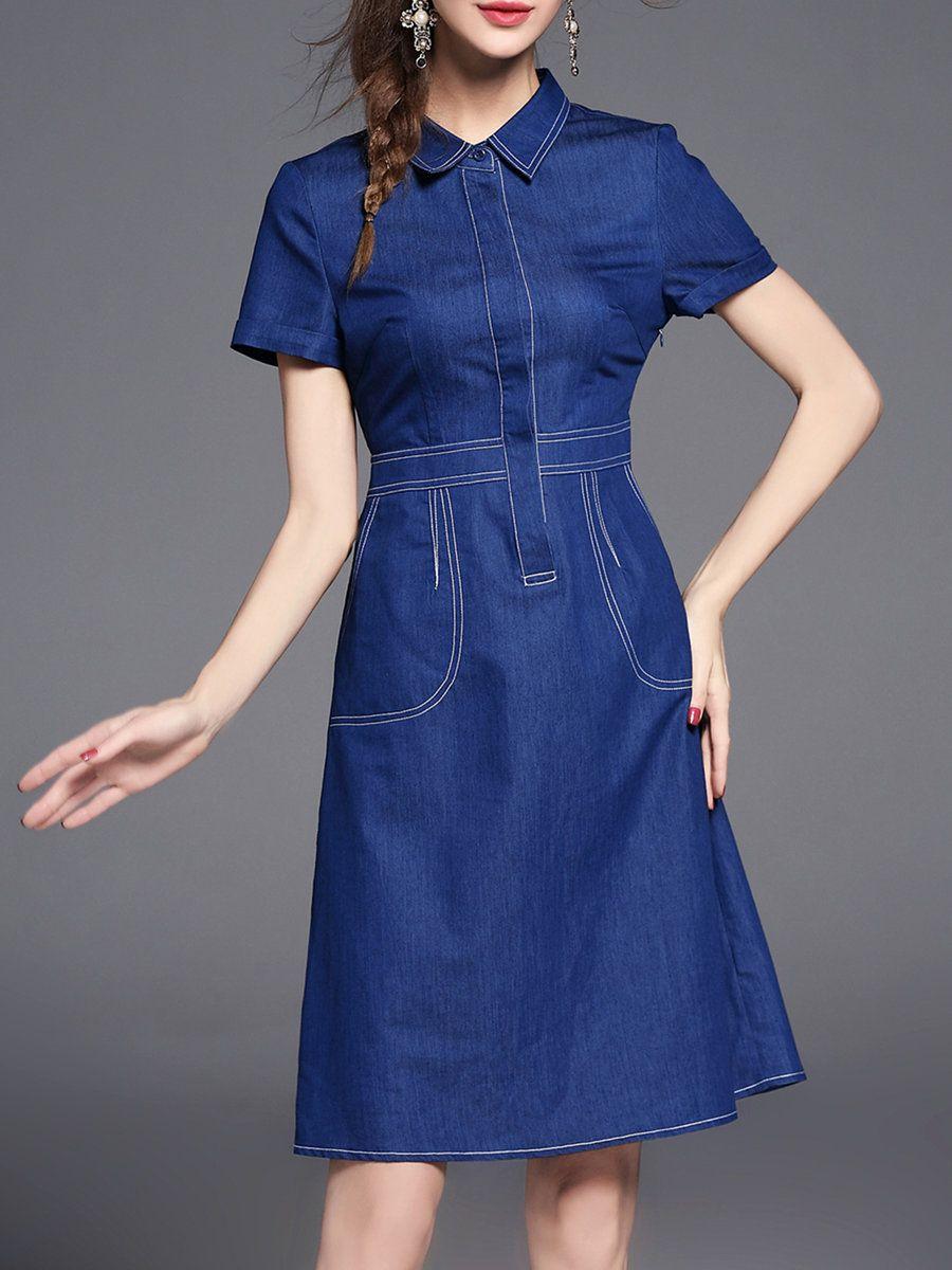 cef95d0982  AdoreWe  StyleWe Midi Dresses❤️Designer Pan Ruo Navy Blue Casual Solid  Shirt Collar A-line Midi Dress - AdoreWe.com