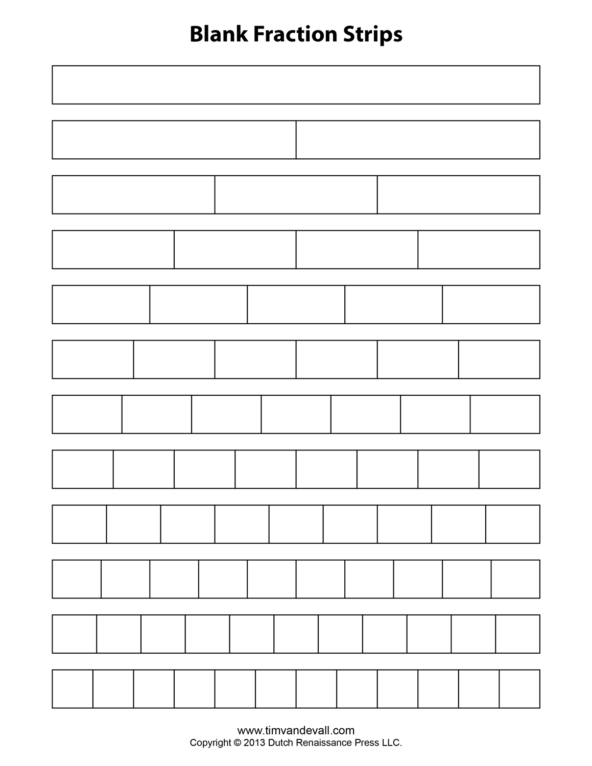 Blank Fraction Bars For Students To Fill In During Testing