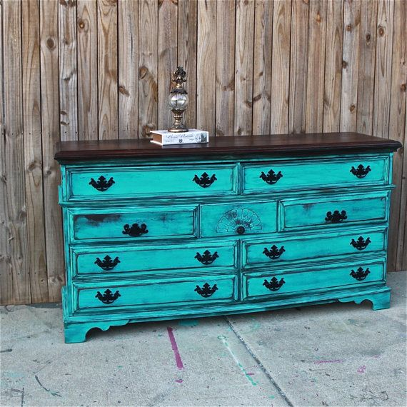 Turquoise Dresser/ Vintage/ Rustic Wood By AquaXpressions On Etsy, $399.00