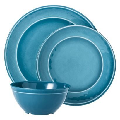 threshold round melamine 12 piece dinnerware set teal from target 2014 outdoor. Black Bedroom Furniture Sets. Home Design Ideas