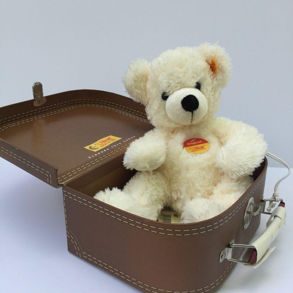 Steiff Lotte Plush White Teddy Bear In Suitcase