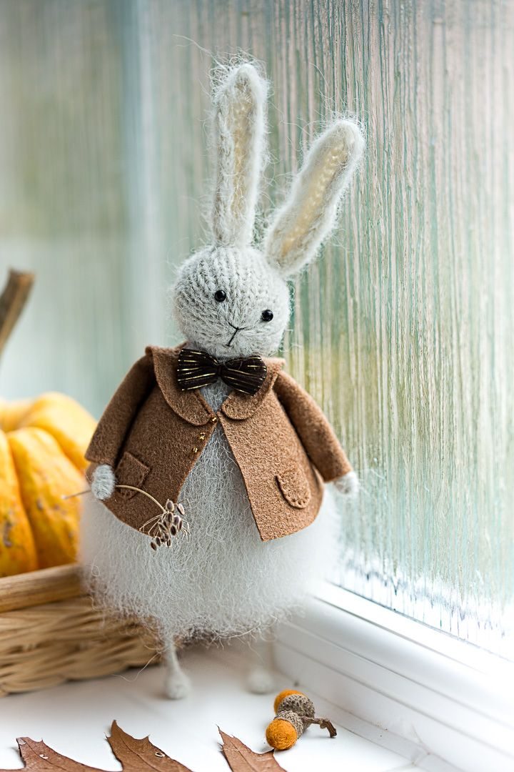 autumn mood cosy fluffy knitted bunny from www