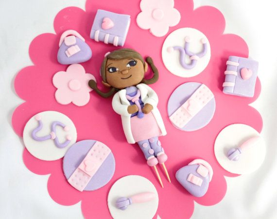 Fondant Doctor Girl cake topper 1 qty and 12 cupcake toppers for