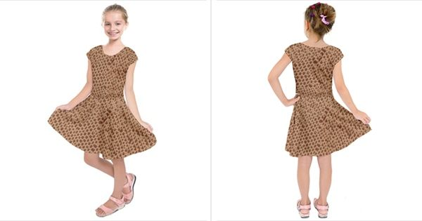 Giraffe Pattern Animal Print Kids' Short Sleeve Dress