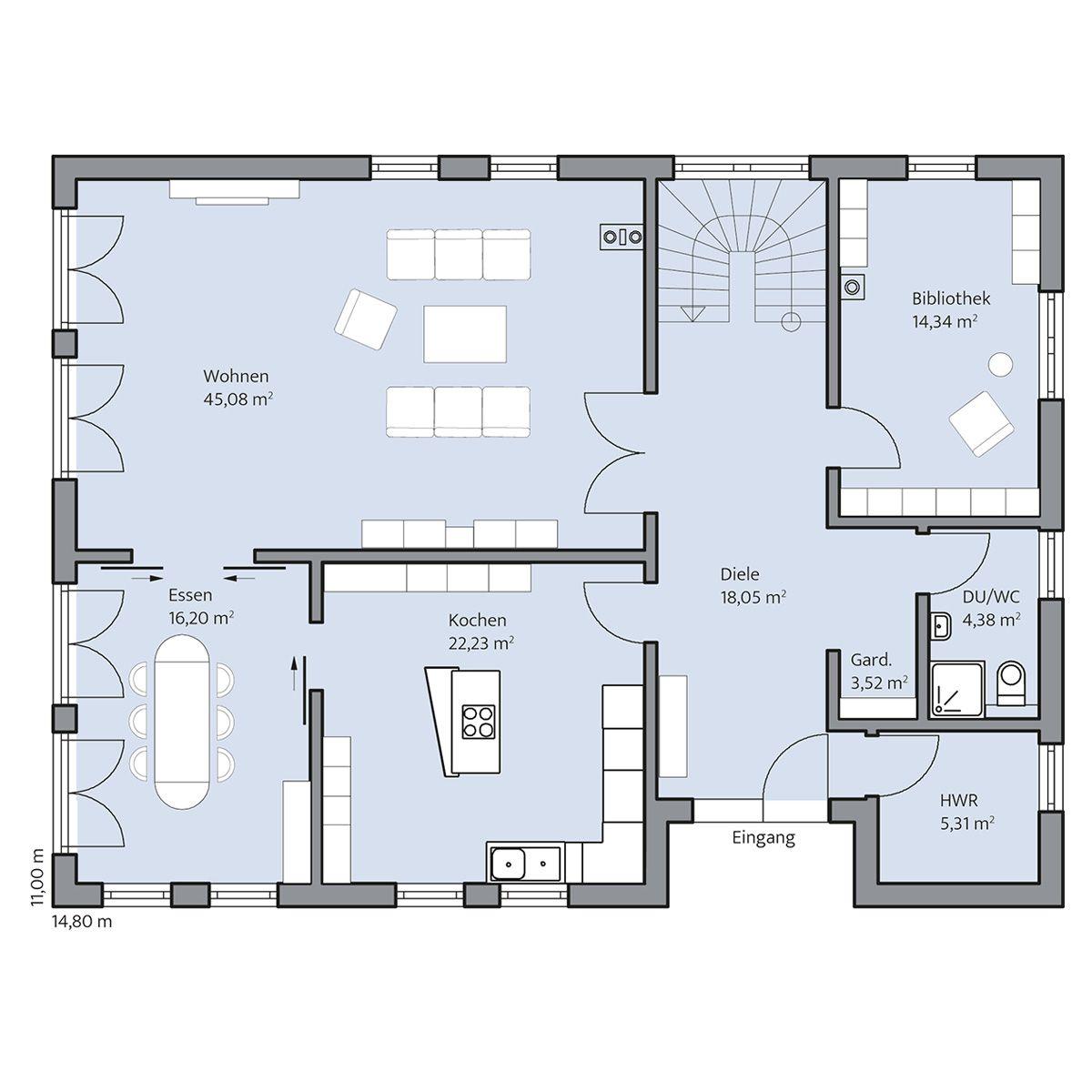 Haus Berger – Erdgeschoss | GRUNDRISSE ♡ | Pinterest | Grundrisse ...