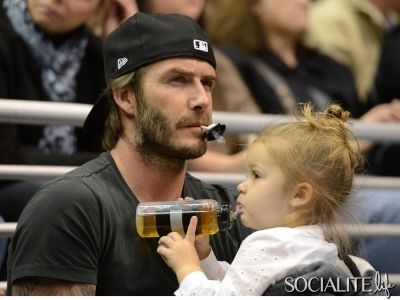 5b8b29f52218 David Beckham and daughter Harper watch the Los Angeles Kings ice hockey  team play Calgary Flames at the Staples Center, Los Angeles, CA and.